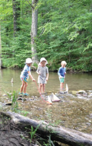 Children playing by a stream