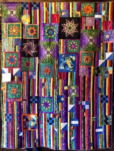 Colorful handmade quilt