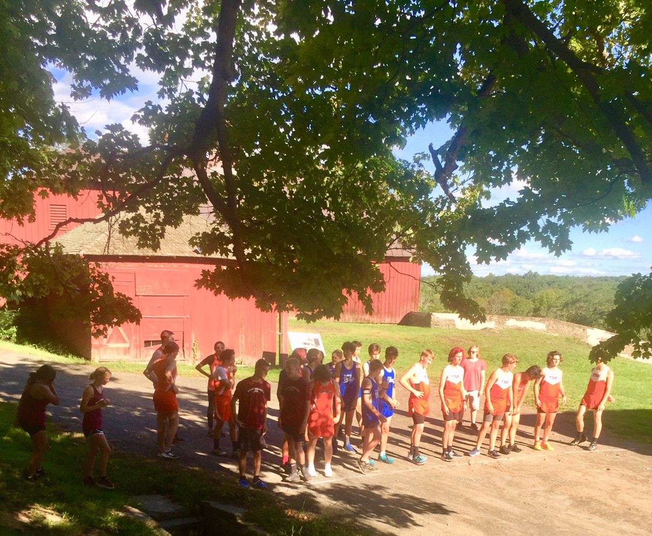 Runners at the starting line for first cross country meet